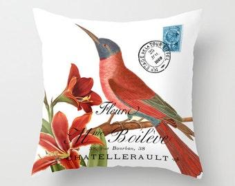 Throw Pillow Cover - Hummingbird on Vintage French Ephemera - 16x16, 18x18, 20x20 - Pillow case Original Design Home Décor by Adidit