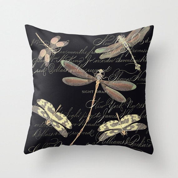 Throw Pillow With Dragonfly : Throw Pillow Cover Night Dragonflies on Vintage Ephemera
