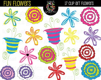 Flower Clipart Digital Clip Art Flowers Whimsical Flowers Printable Clipart Flowers Digital Flower Clip Art - Instant Download