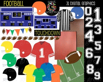 Football Clipart Football Digital Paper Football Clip Art Football Party Printable Invitation Paper Football Jersey Helmet Instant Download