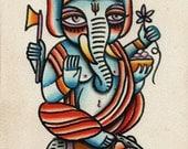 Shri Ganesha Lord Of Beginnings 5x7 Watercolor Painting