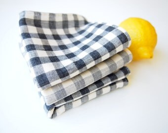Set of 3 Face Washer / Mini Handkerchiefs - Black and Grey Gingham Checks