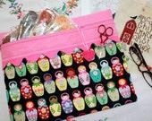 Matryoshka Dolls Cross Stitch, Sewing, Embroidery Project Bag