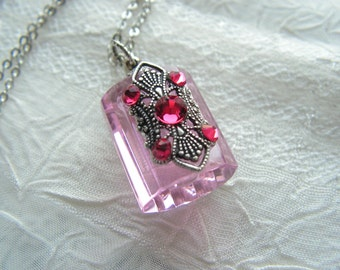 Pretty In Pink Crystal And Silver Perfume Or Essential Oil Bottle Necklace