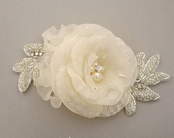 Swarovski Pearl Wedding Head Piece, Bridal Head Piece, Wedding Headpiece, Bridal Headpiece, Swarovski Crystal Rhinestone, Pure Silk Flower