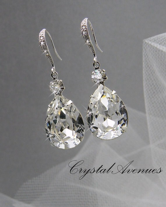Bridal Earrings, Crystal Bridal earrings, Wedding Bridal Jewelry, Bridesmaids, Crystal Drop Bridal Earrings