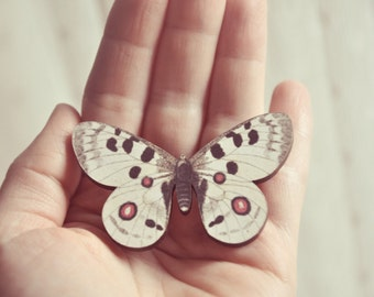 ivory wooden butterfly brooch.
