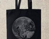 Black Tote Bag - Moon and Ravens - Cotton Canvas Tote Bag