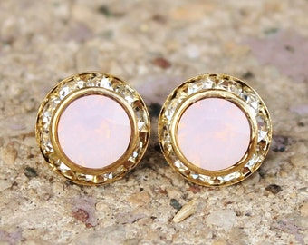 Pink Opal Rondelle Earrings,Swarovski Rondelle Earrings,Rose Water Opal,Pastel Pink Opal,Gold Rhinestone Rondelle,Swarovski Post,Bridesmaid