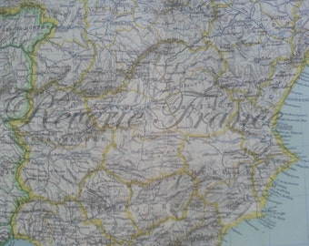 Antique Map of Spain and Portugal - 1891 Large map of Spain and Portugal