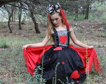 Queen of Hearts inspired Costume Layered, Lined Fabric Heart Skirt, Paisley Brocade Satin Ribbon Top, and Lace Hair Accessory Veil for Girls