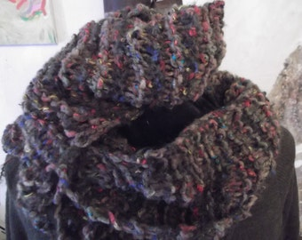 HANDKNITTED WINTER SCARF, khaki, multi-coloured accents
