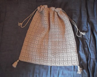 ANTIQUE CROCHET BREAD bag, ecru, Portuguese , country, cottage chic