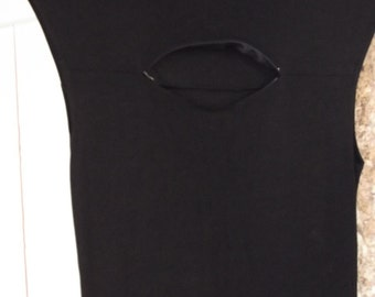 BLACK body con MAXI DRESS, French, M, 90s, high fashion, women