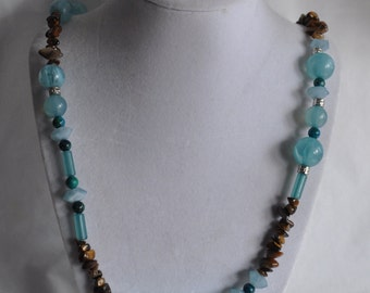 "23 3/4"" Blue Beaded Necklace with Tiger Eye Chips, necklace, blue, beaded, tiger eye, chips, earrings, matching, dangle"