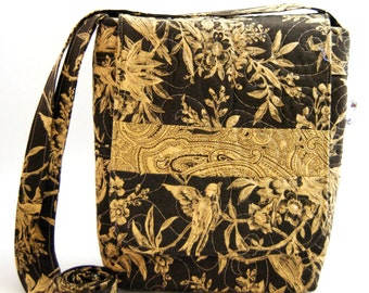 Quilted Cotton Cross Body Bag in Brown and Khaki Bird Print Quilted Handbag