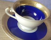 Antique 1940's Alka Kunsta Bavaria Germany tea cup and saucer, blue and gold demitasse tea cup set, porcelain tea set, blue tea set, - ShoponSherman