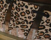 Burlap Leopard Print Banner Garland Bunting Home Decor Baby Shower Nursery Decoration Jungle Theme (BU7)