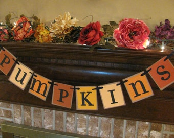 Pumpkins Banner Color Block Style Halloween Bunting Garland Shades of Orange (S13)