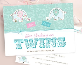 Nelly Twin Christening PRINTABLE Invitations as Jpeg or PDF