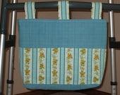 Aqua Blue Check Adult Walker Bag w/Floral Stripe Pockets