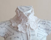 Handmade Crochet White Flower Collar - Tie Up Detachable Cowl