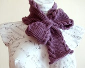 Hand knitted woman purple bow neck warmer - Pull through scarf, Woman winter fashion - PureCraft