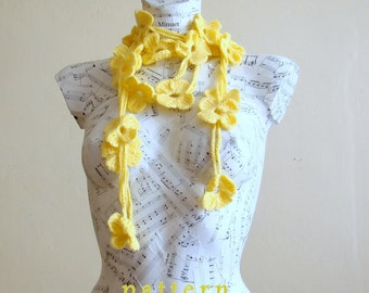 Crochet Flower Scarf Pattern crochet lariat scarf pattern crochet scarf crochet necklace gift for her accessories woman scarf crocheted