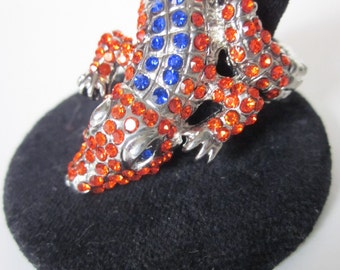 GO GATORS Orange & Blue Swarovski Crystal Adjustable Florida Alligator Ring-Bejeweled Embelished