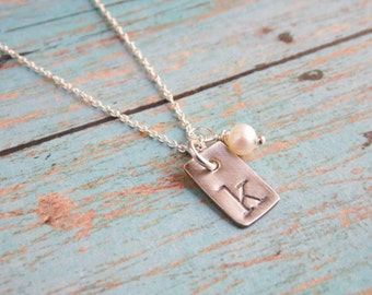 Hand Stamped Monogram Initial Necklace Sterling Silver Rectangle Tag