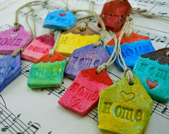 small house charms, house warming gift, ceramic talisman, reminder of home