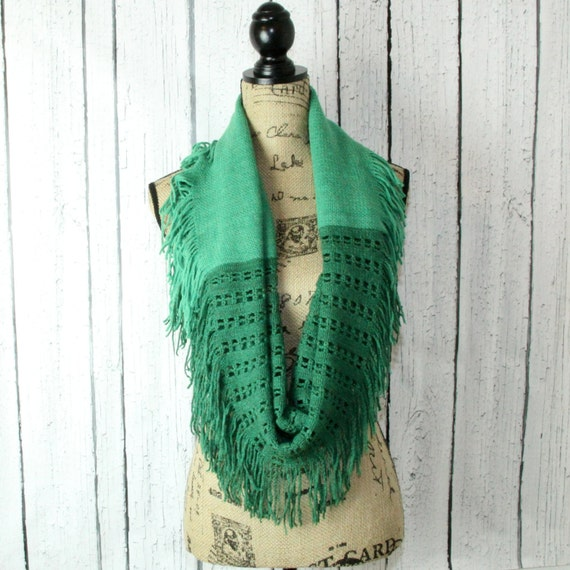 Two tone Green infinity scarf, fringe scarf, cowl scarf, loop scarf