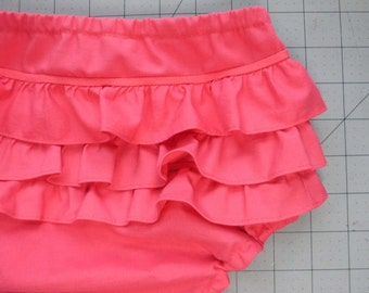 Multiple Colors Ruffled Baby and Toddler Bloomers Sizes 3M to 4T Diaper Cover, Dress Accessory, or Underwear cover made with Kona Cotton