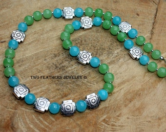 Southwestern Turquoise And Green Beaded Necklace - Turquoise Necklace - Green Necklace - Silver Necklace - Four Corners - Gift For Her