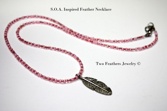 SOA Inspired Feather Necklace - Pink Beaded Necklace With Silver Feather - Sons Of Anarchy Inspired Tara Necklace - Gift For Her - Teens