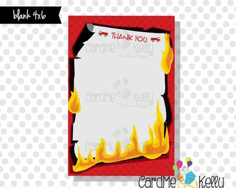 INSTANT DOWNLOAD Printable 4x6 Firetruck Fire Thank You M2M Firetruck Fire Birthday Invitation - Digital File