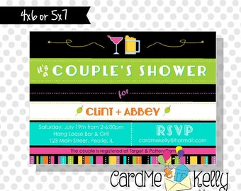 Printable Retro Colorful Couples Bridal Shower Invitation - Printable Digital File