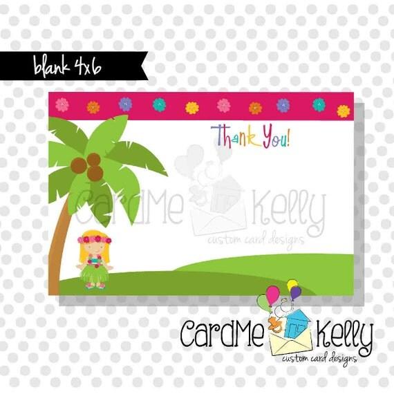 Coordinating 4x6 Hula Luau Palm Tree Thank You Card - Printable Digital File