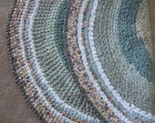 Soothing Grey Green 4' Crocheted Rug