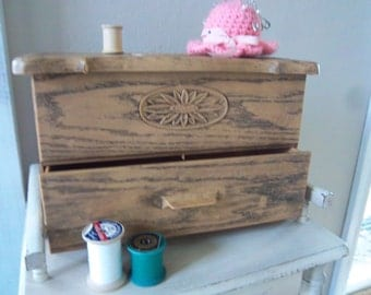 Retro Lerner Hinged Plastic Sewing Chest with Drawer