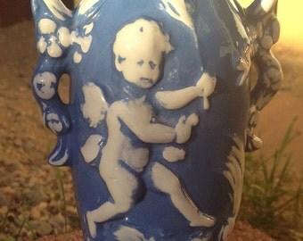 Putti Cherub Angel Vase Vintage Signed