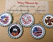 Fire fighter wine glass charms for the wine lover in your life.... customize