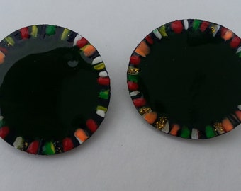 Green Wooden Vibrant Disk Earrings
