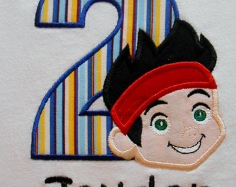 Custom Boutique Pirate Jake Birthday Applique t-shirt or onesie - machine embroidered - personalized