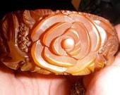 carved bakelite bangle bracelet vintage roses marbled honey tea