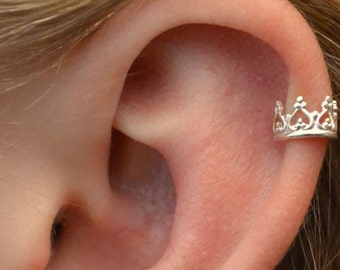 Ear Cuff  -  Crown -  Sterling Silver - SINGLE