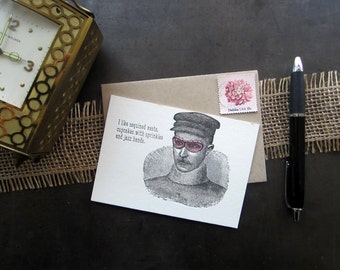 1002 : Letterpress Just Because Card, Blank Card, Jazz Hands Card, Snarky Card, Silly Card, Funny Card, Hilarious Card