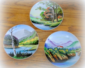 3 Three Asian Hanging Plates Vintage Hand Painted Japan Countryside Scenic Design Coordinating Patterns
