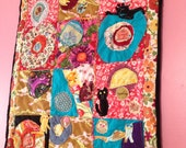 Appliqué Quilt  with Cats (lap or wall hanging) original