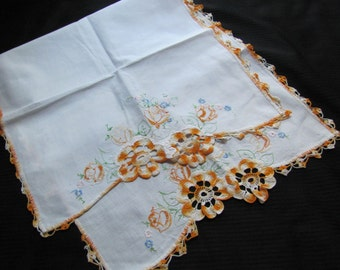 Antique Crocheted Embroidered Table Runner Dresser Scarf Doily - 16 x 36